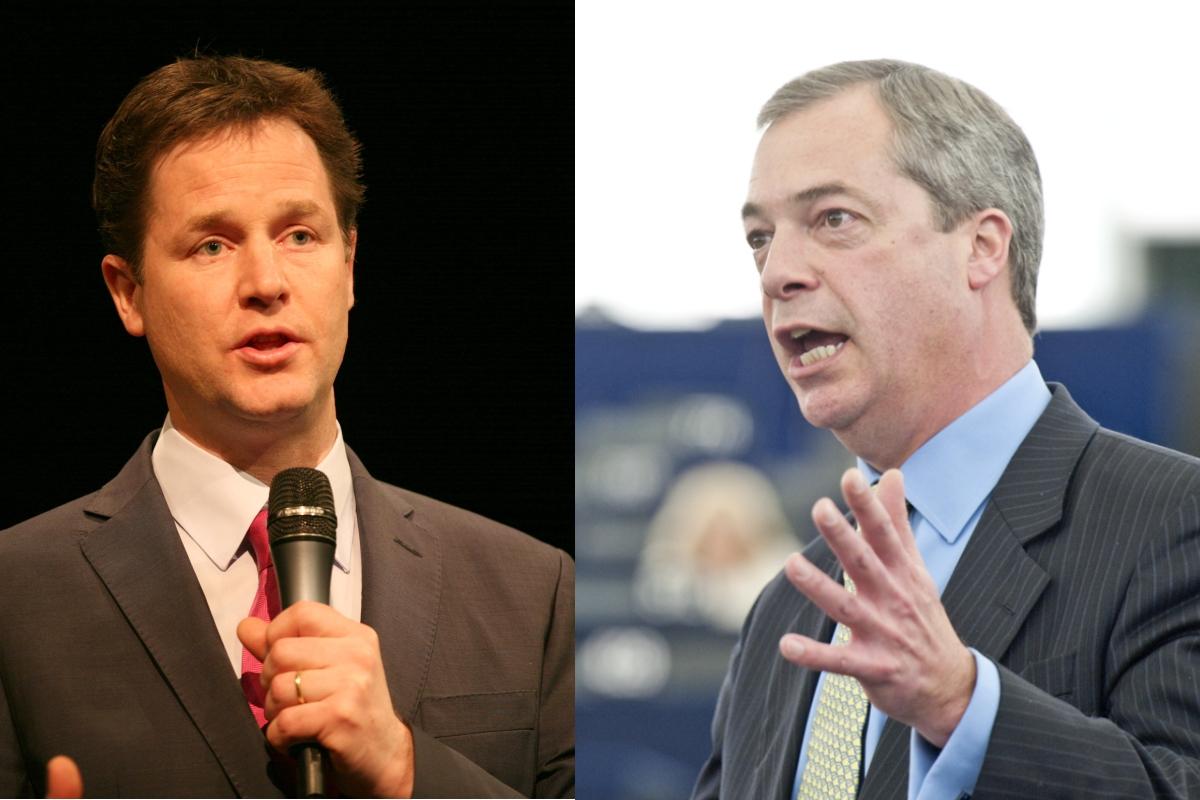 Nick Clegg (left) and Nigel Farage [Liberal Democrats; European Parliament / Flickr]