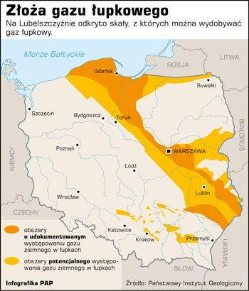 Zones of shale gas in Poland [Polish institute of Geology]