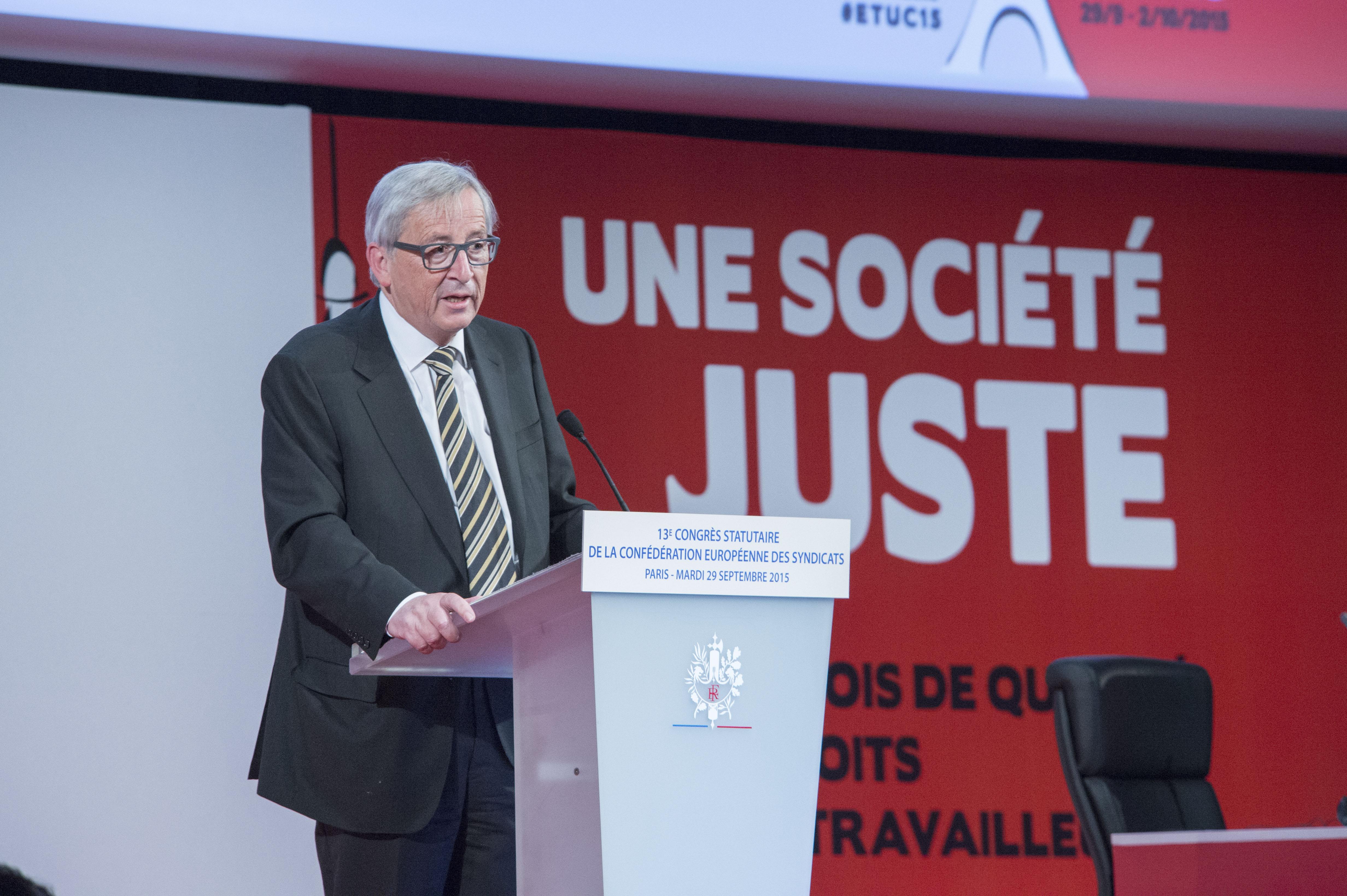 Jean-Claude Juncker au congrès de la Fédération européenne des syndicats, le 29/09/15