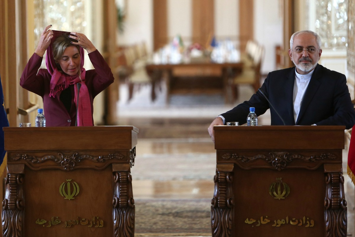 Federica Mogherini and Mohammed Javad Zarif