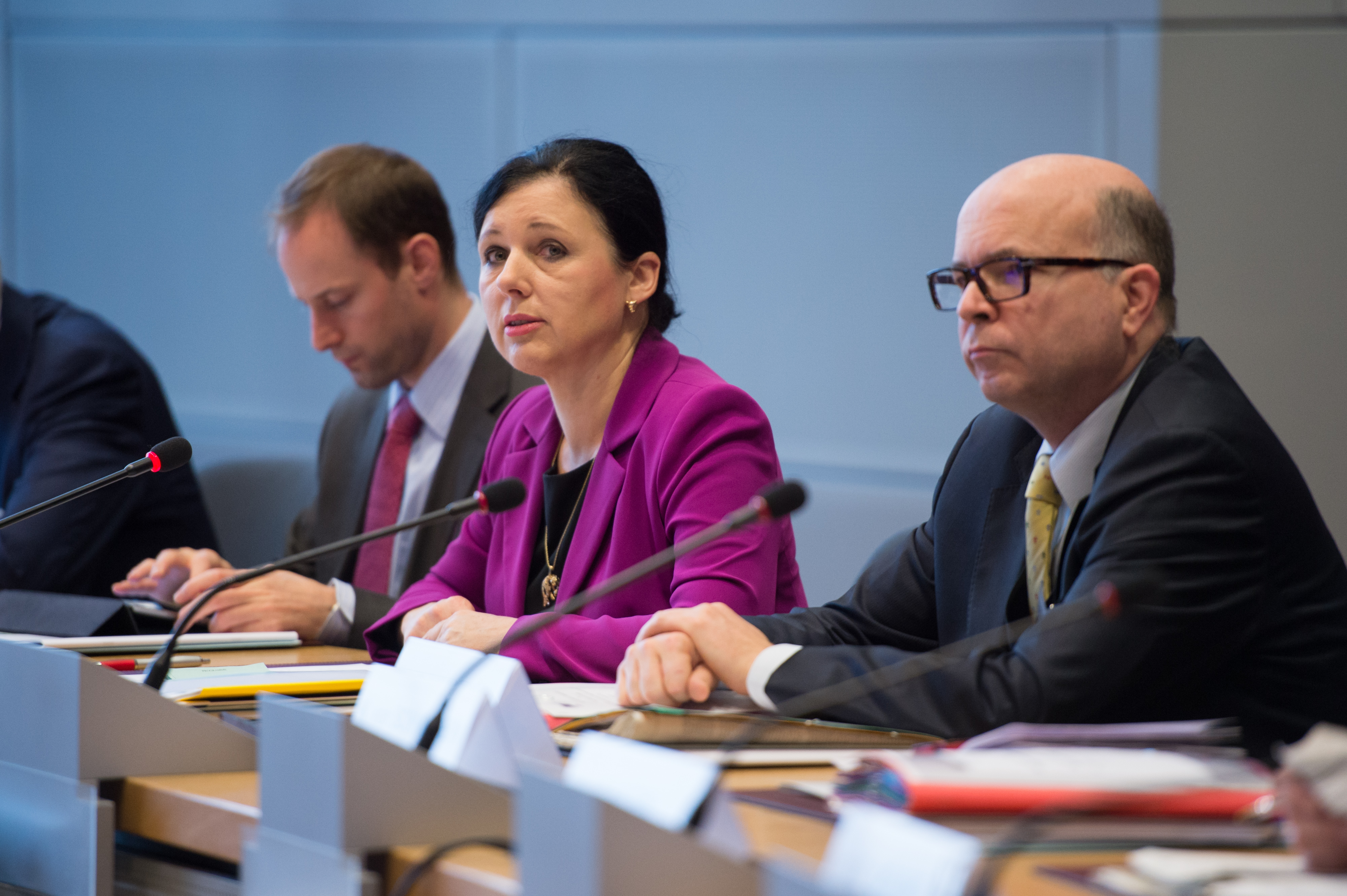 EU Justice Commissioner Vera Jourova and Paul Nemitz, director for fundamental rights at DG Justice