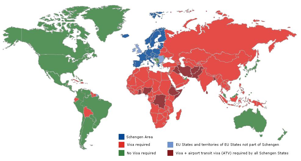 Le futur Etias concernera les ressortissants des pays ne nécessitant pas de visa (en vert sur la carte) . Carte Commission Européenne