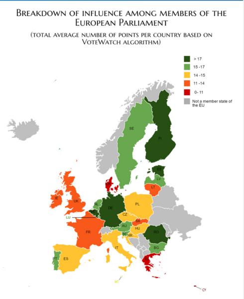 Niveau d'influence des élus, par pays